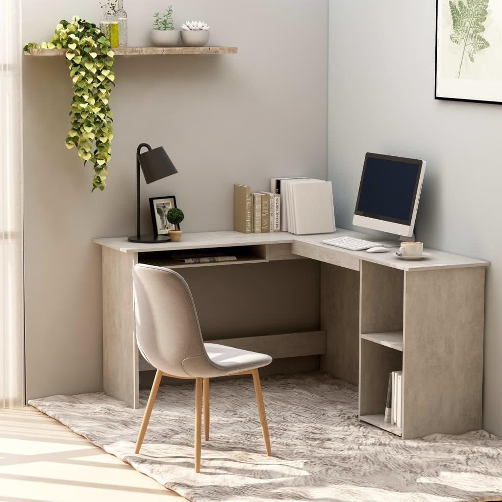vidaXL Rohový psací stůl betonově šedý 120 x 140 x 75 cm dřevotříska