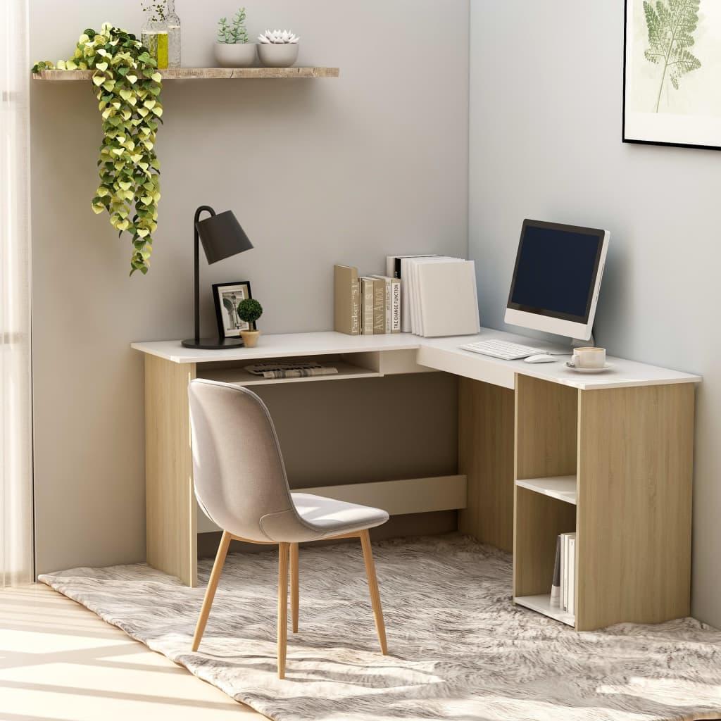 vidaXL Rohový psací stůl bílý a dub sonoma 120x140x75 cm dřevotříska