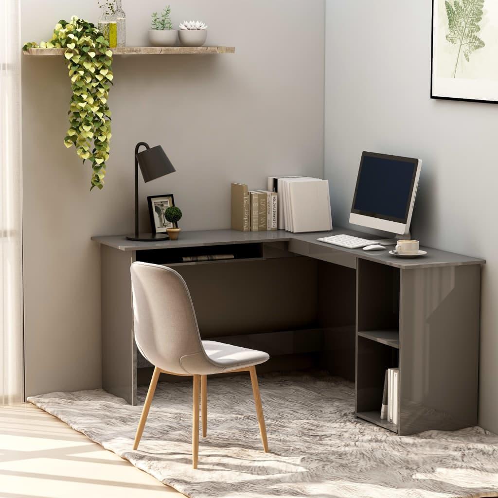 vidaXL Rohový psací stůl šedý vysoký lesk 120x140x75 cm dřevotříska