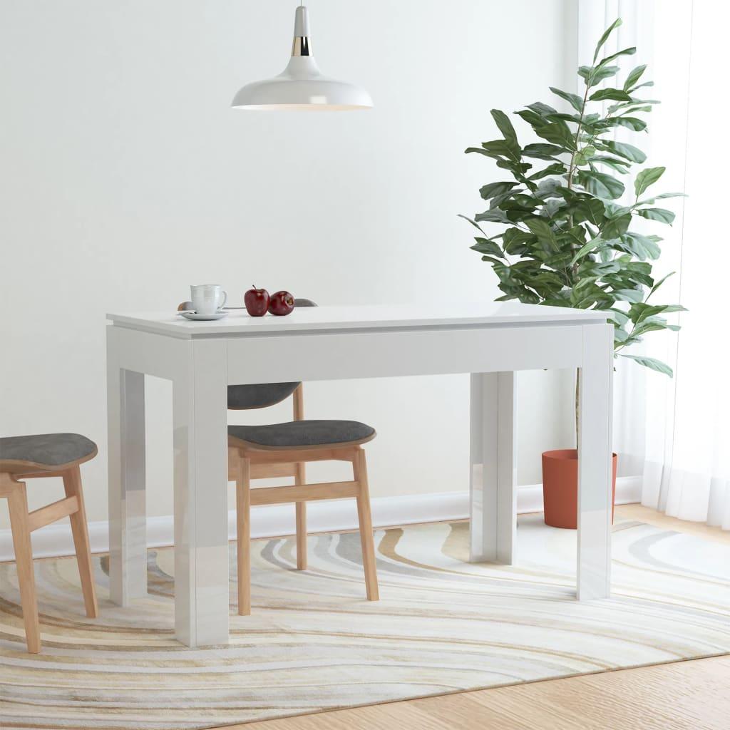 vidaXL Masă de bucătărie, alb lucios, 120 x 60 x 76 cm, PAL vidaxl.ro