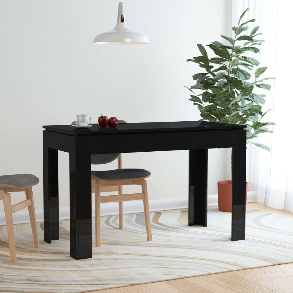 Jídelní stůl vysoký lesk černý 120 x 60 x 76 cm dřevotříska