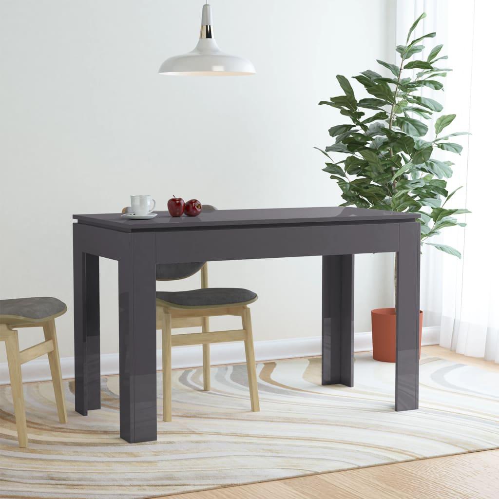 Jídelní stůl vysoký lesk šedý 120 x 60 x 76 cm dřevotříska
