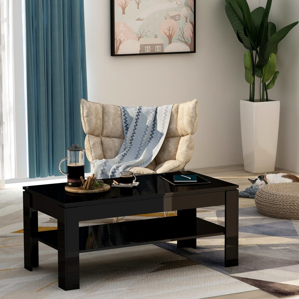 vidaXL Măsuță de cafea, negru lucios, 110 x 60 x 47 cm, PAL poza 2021 vidaXL