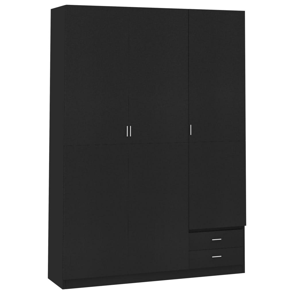 vidaXL Șifonier cu 3 uși, negru, 120 x 50 x 180 cm, PAL vidaxl.ro