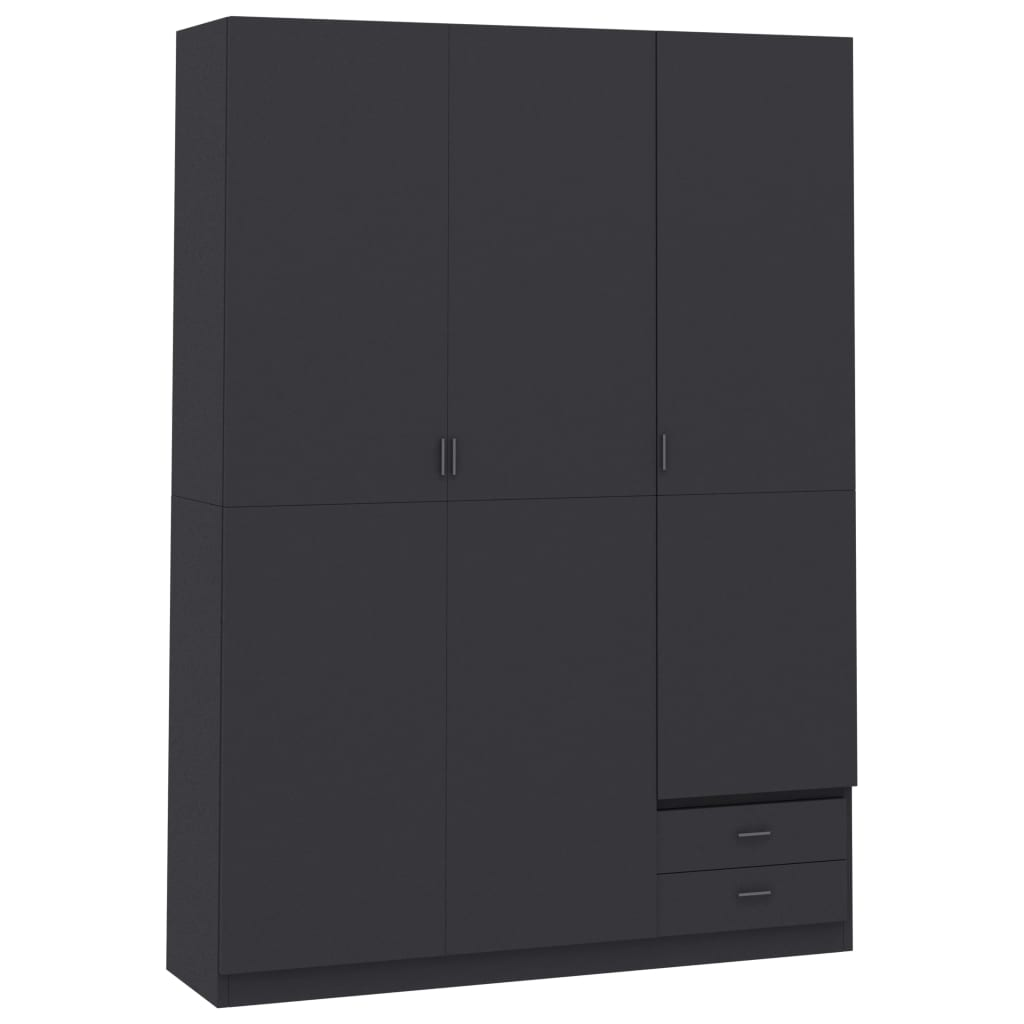 vidaXL Șifonier cu 3 uși, gri, 120 x 50 x 180 cm, PAL vidaxl.ro