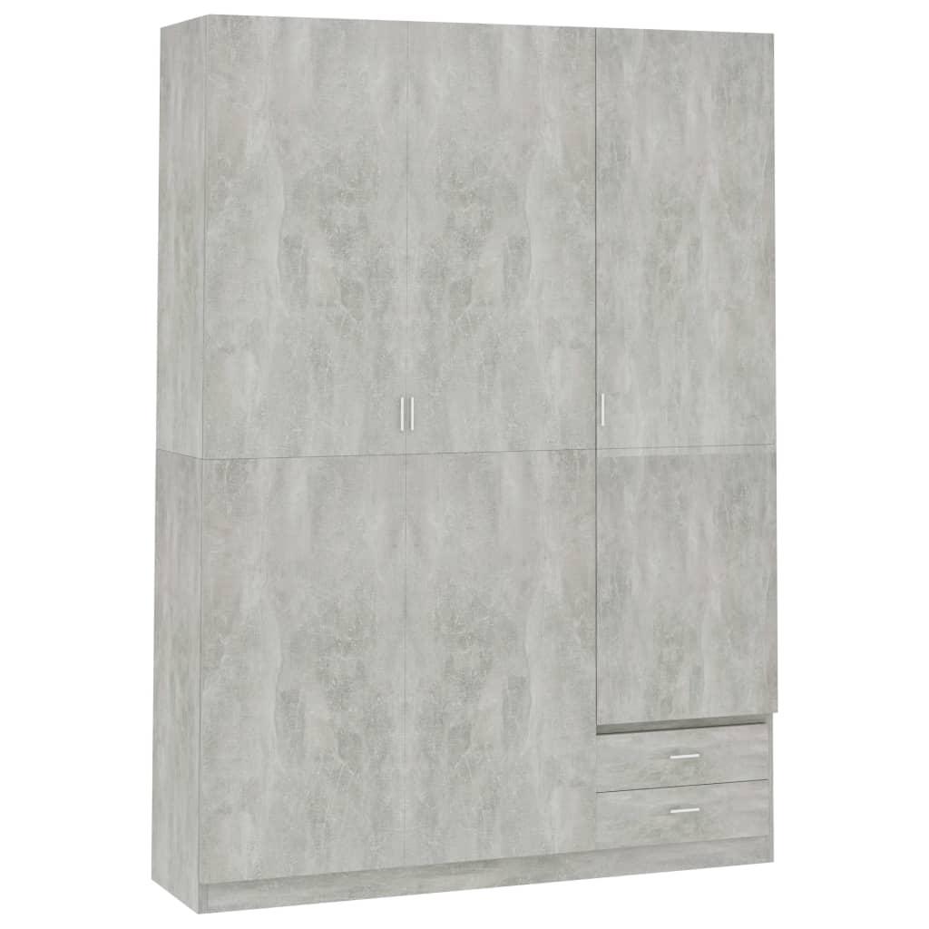 vidaXL Șifonier cu 3 uși, gri beton, 120 x 50 x 180 cm, PAL vidaxl.ro
