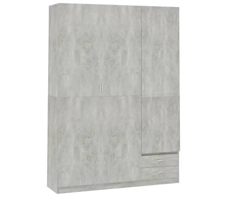 vidaXL Kledingkast 3-deurs 120x50x180 cm spaanplaat betongrijs