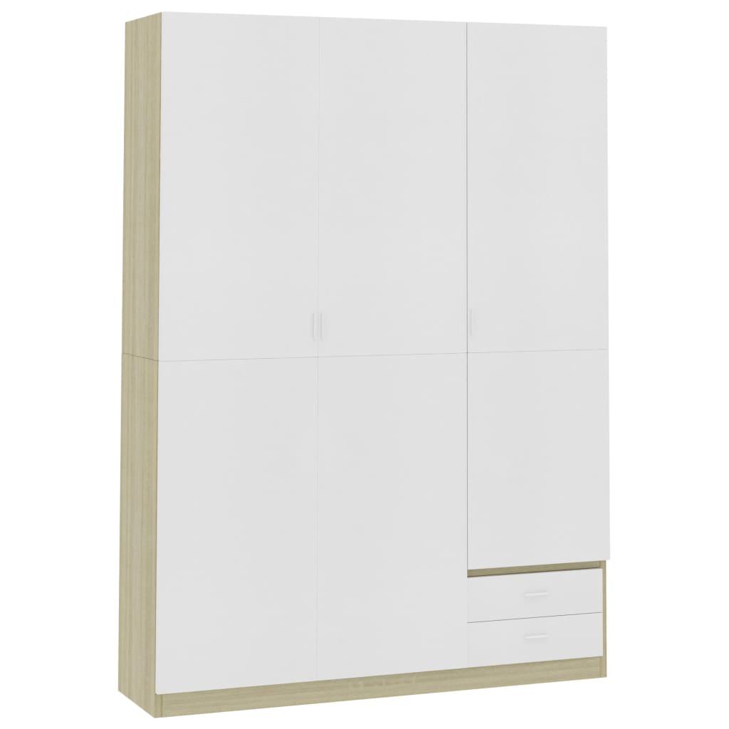 vidaXL Șifonier cu 3 uși, alb & stejar Sonoma, 120 x 50 x 180 cm, PAL poza vidaxl.ro