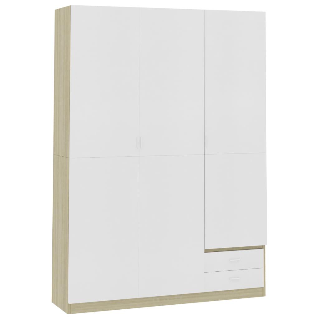 3 uksega riidekapp valge, Sonoma tamm 120x50x180 ..