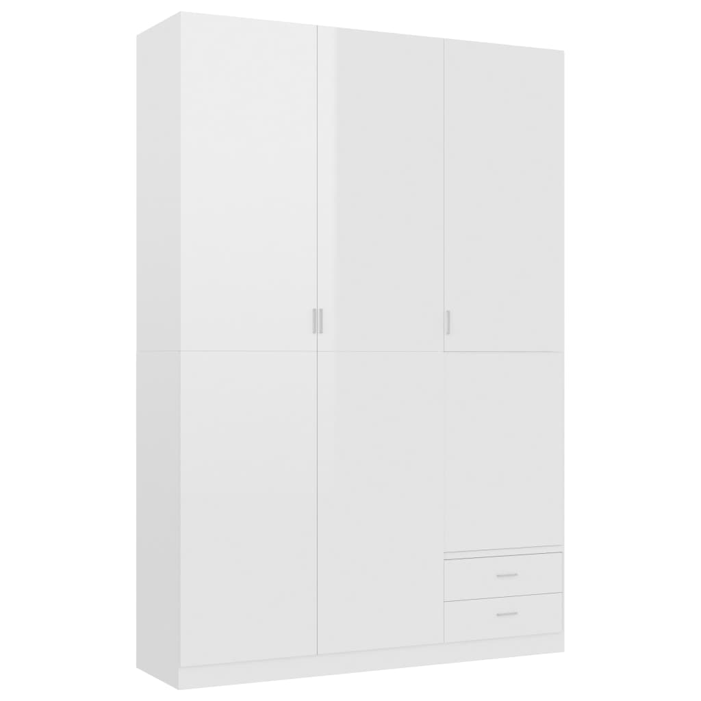 vidaXL Ντουλάπα Τρίφυλλη Γυαλιστερό Λευκό 120x50x180 εκ. Μοριοσανίδα