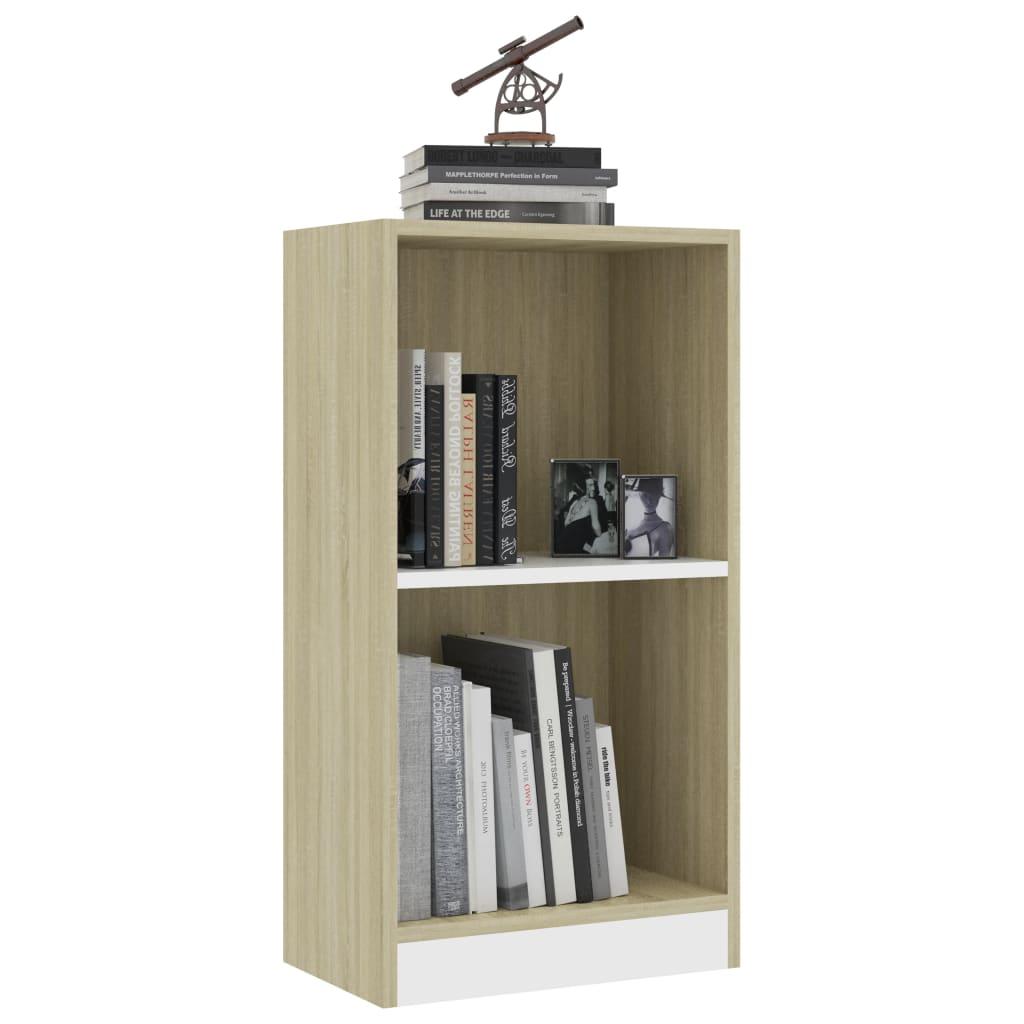 Raamaturiiul, valge ja Sonoma tamm, 40x24x75 cm, puitlaastplaat