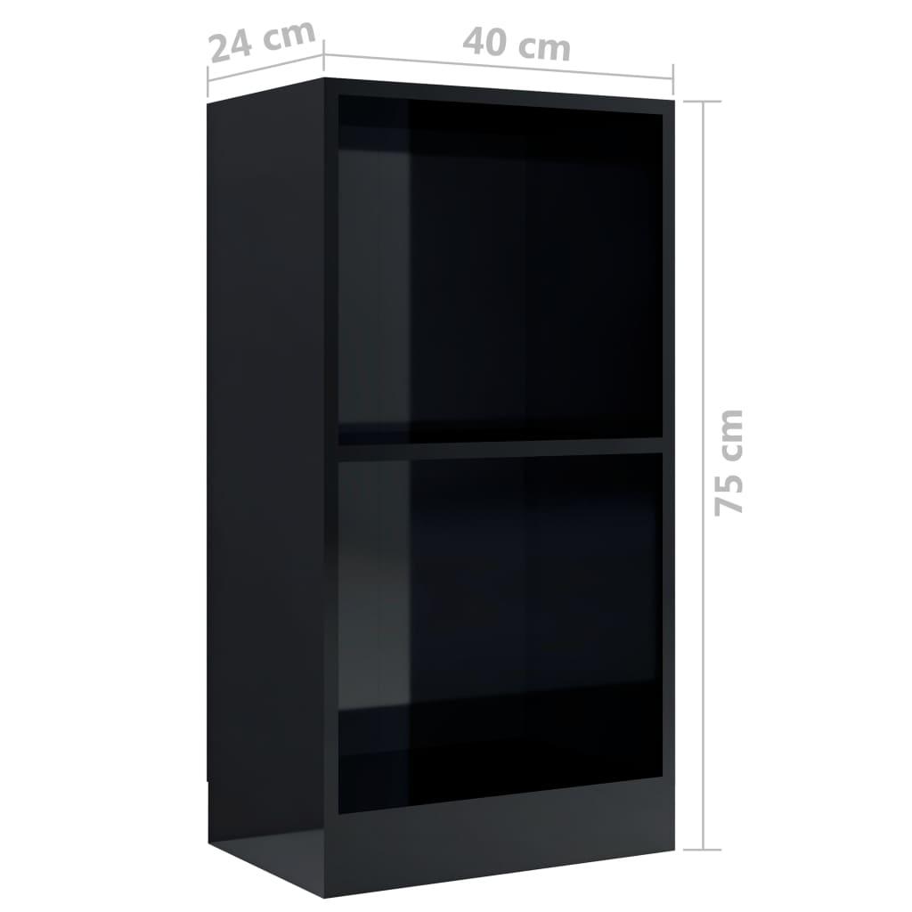Raamaturiiul, kõrgläikega must, 40x24x75 cm, puitlaastplaat