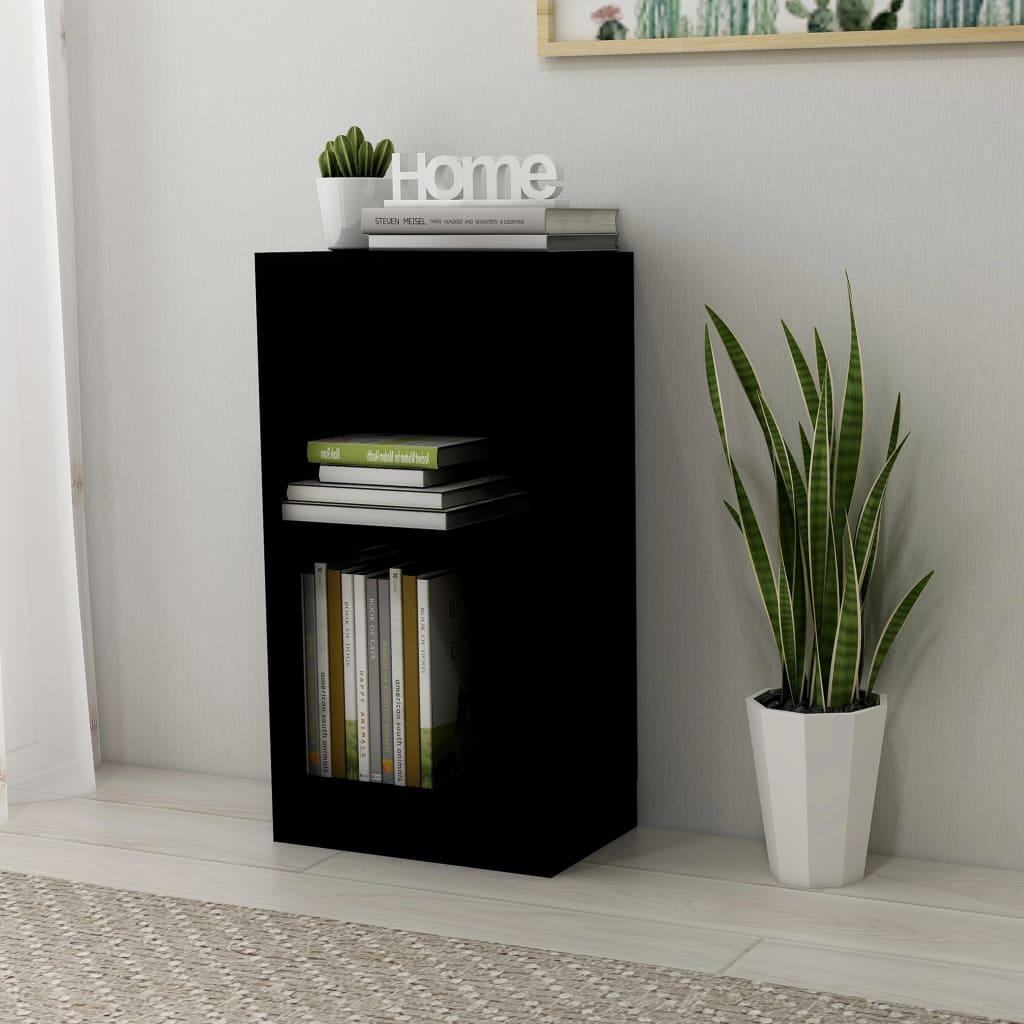 vidaXL Knihovna černá s vysokým leskem 40 x 24 x 75 cm dřevotříska
