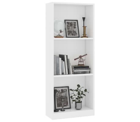 vidaXL Estantería librería 3 niveles aglomerado blanco 40x24x108 cm