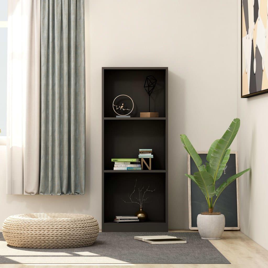 3patrová knihovna černá 40 x 24 x 108 cm dřevotříska