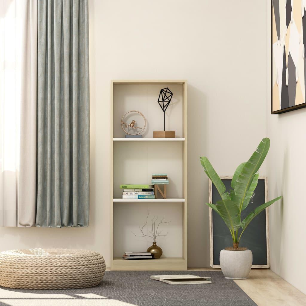 3patrová knihovna bílá a dub sonoma 40x24x108 cm dřevotříska