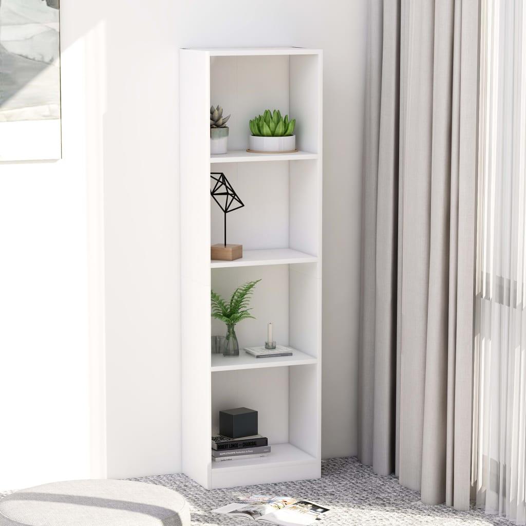 Knihovna se 4 policemi bílá 40 x 24 x 142 cm dřevotříska