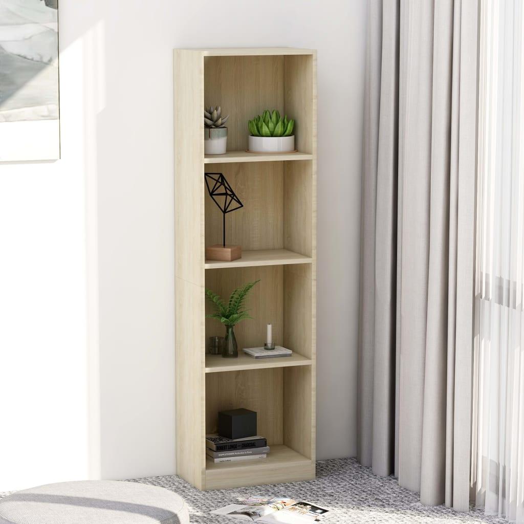 Knihovna se 4 policemi dub sonoma 40 x 24 x 142 cm dřevotříska