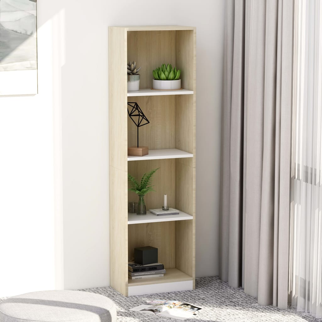 Knihovna 4 police bílá a dub sonoma 40x24x142 cm dřevotříska