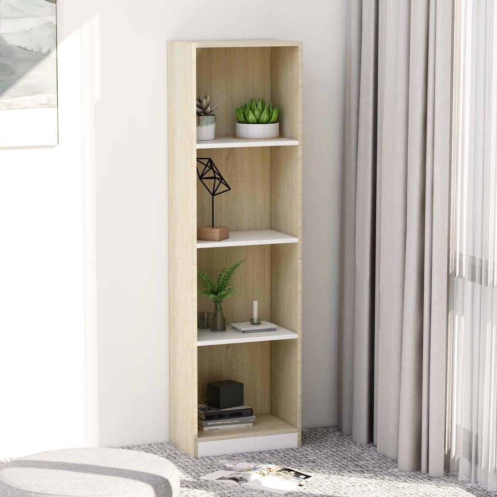 vidaXL Bibliotecă cu 4 rafturi, alb & stejar Sonoma, 40x24x142 cm, PAL poza vidaxl.ro