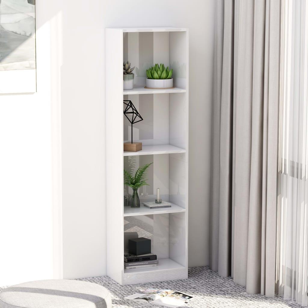 Knihovna 4 police bílá vysoký lesk 40 x 24 x 142 cm dřevotříska
