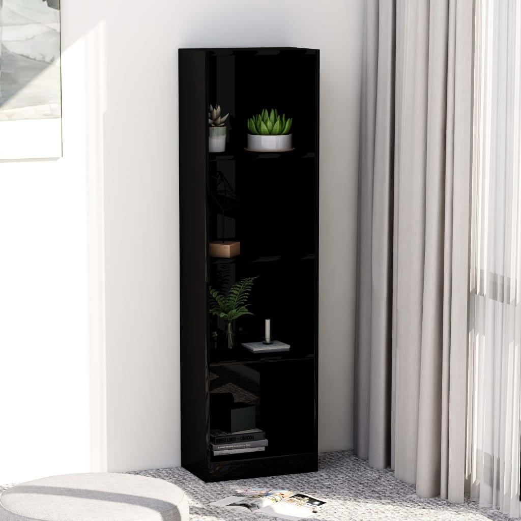 Knihovna 4 police černá vysoký lesk 40x24x142 cm dřevotříska
