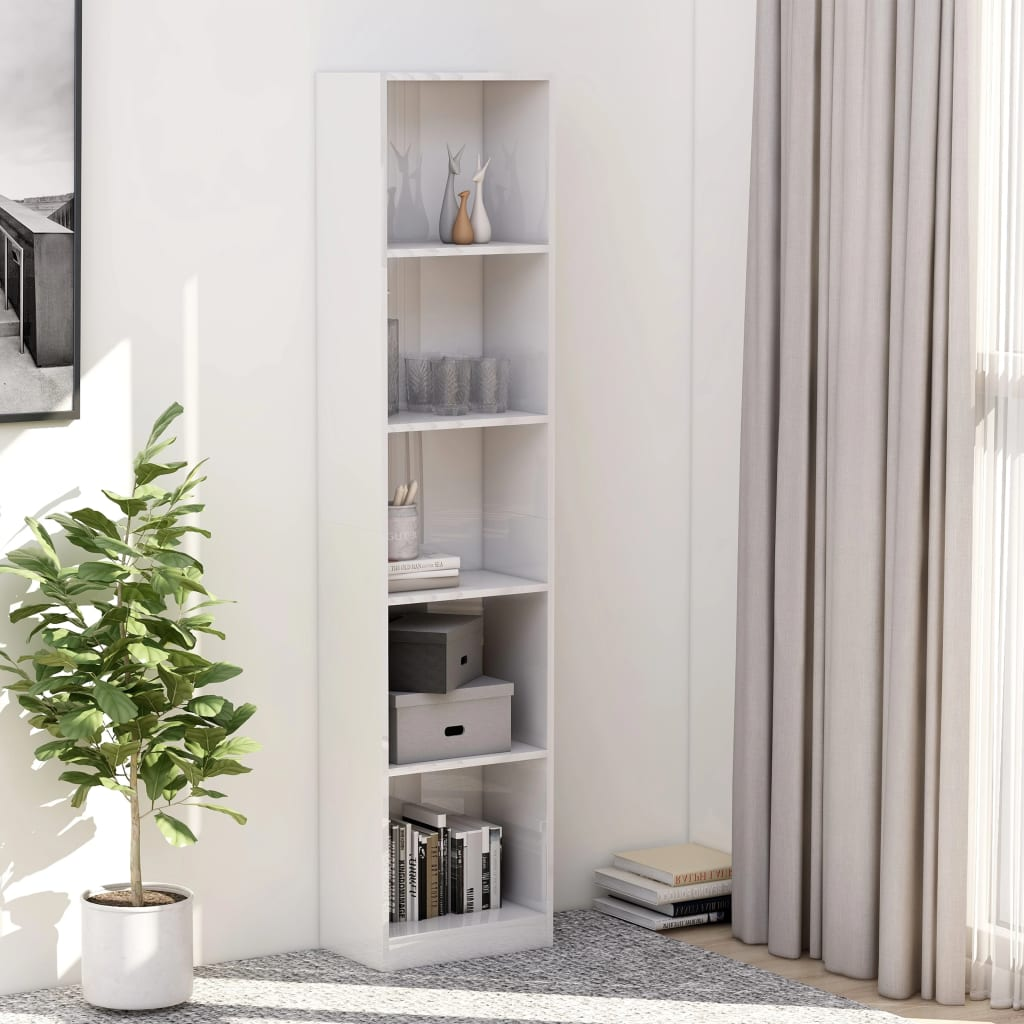 5-korruseline raamaturiiul valge 40x24x175 cm, pu..