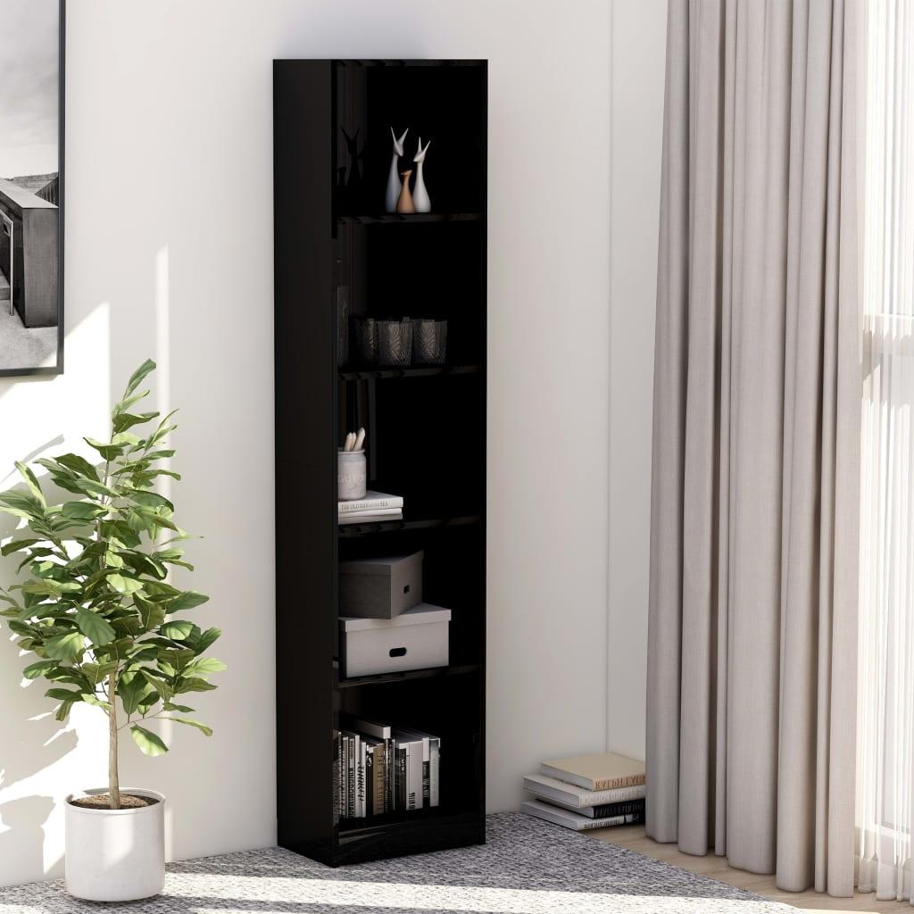 5-korruseline raamaturiiul must 40x24x175 cm, pui..