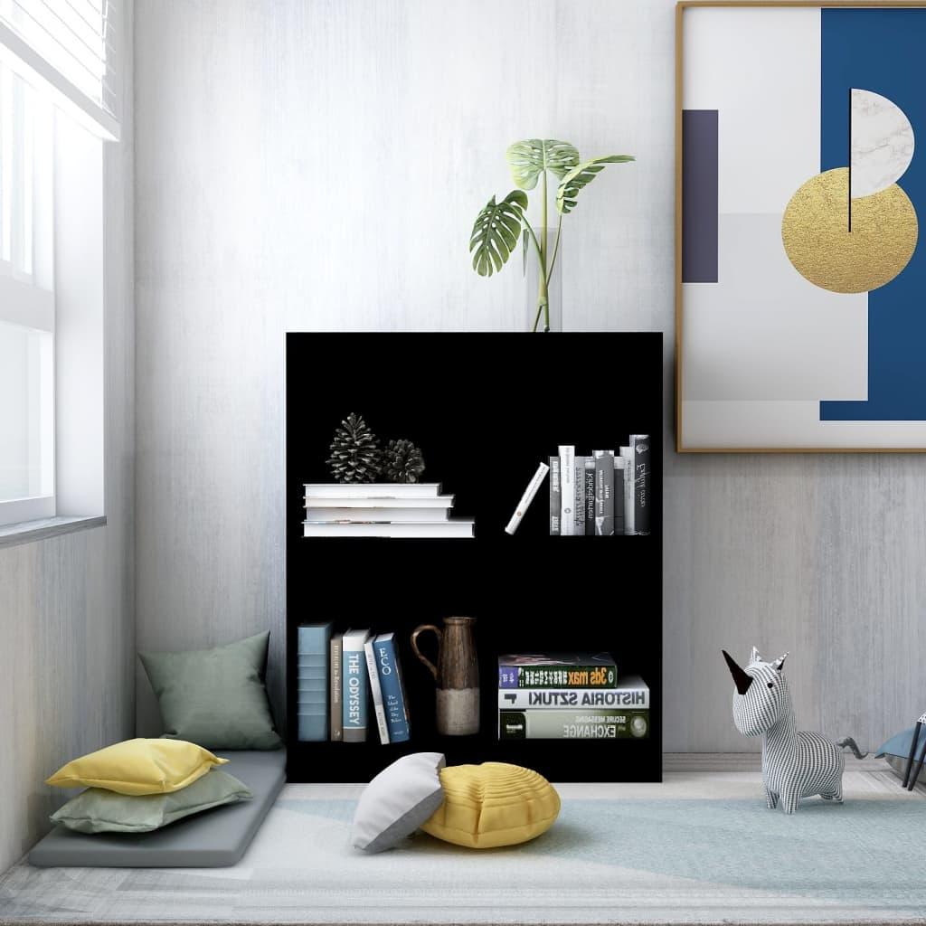 Knihovna černá 60 x 24 x 74,5 cm dřevotříska