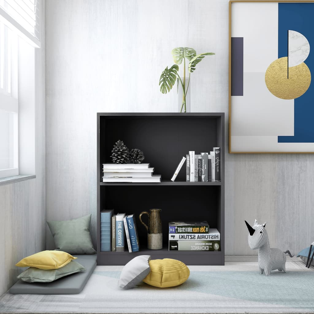Knihovna šedá 60 x 24 x 74,5 cm dřevotříska