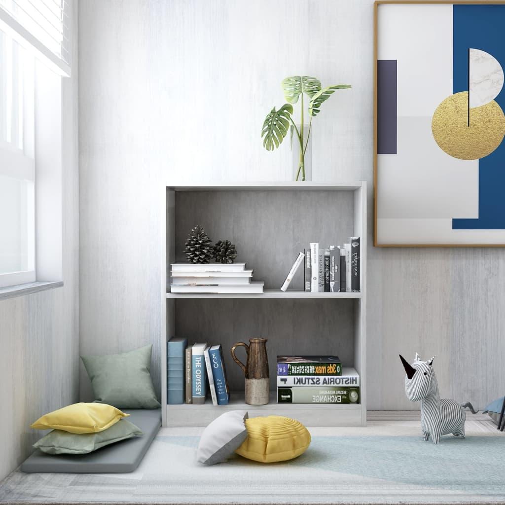 Knihovna betonově šedá 60 x 24 x 74,5 cm dřevotříska