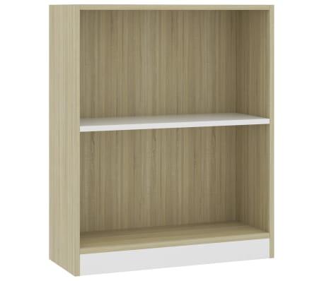 "vidaXL Bookshelf White and Sonoma Oak 23.6""x9.4""x29.3"" Chipboard"