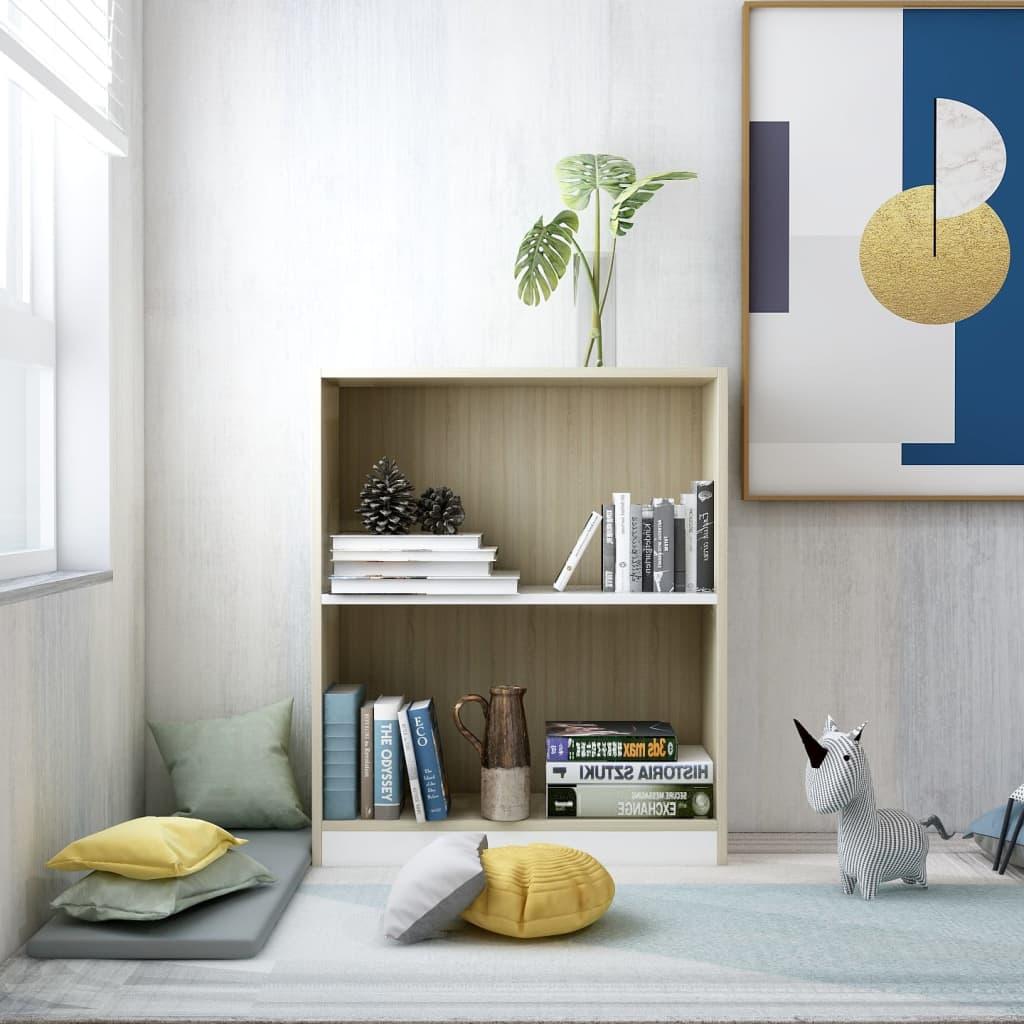 Knihovna bílá a dub sonoma 60 x 24 x 74,5 cm dřevotříska