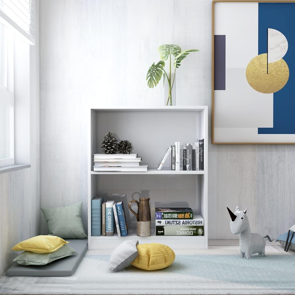 Knihovna bílá s vysokým leskem 60 x 24 x 74,5 cm dřevotříska