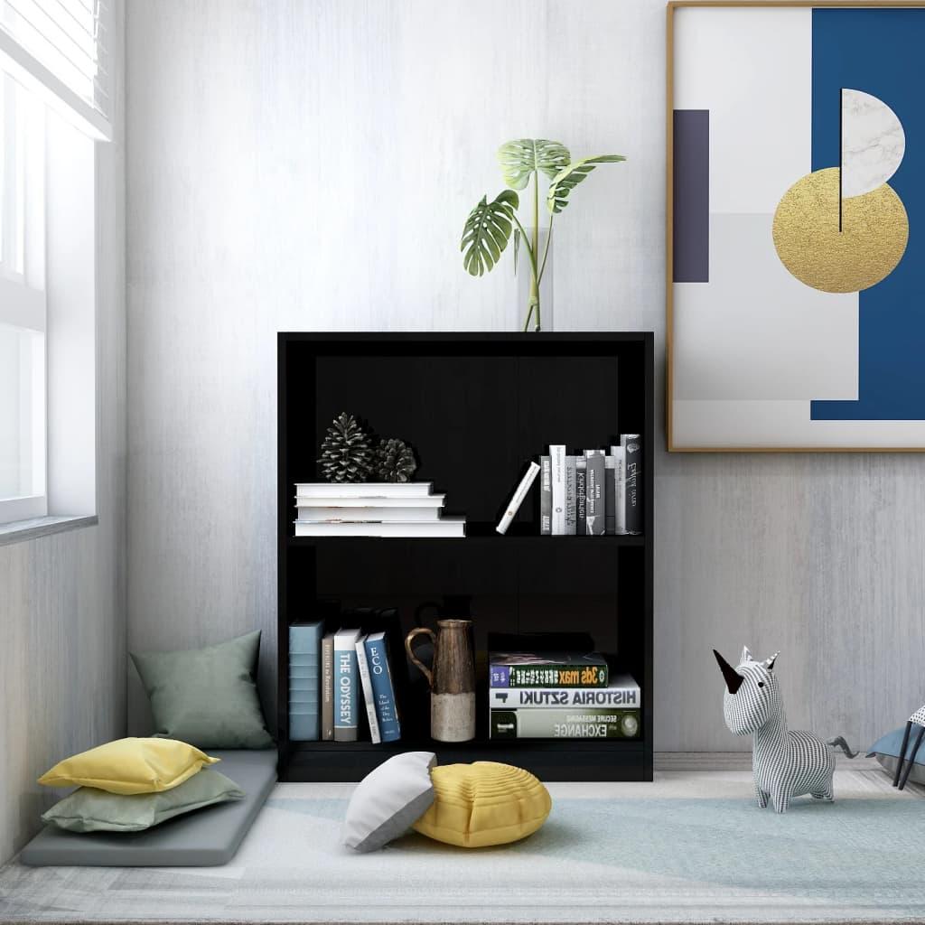 Knihovna černá s vysokým leskem 60 x 24 x 74,5 cm dřevotříska