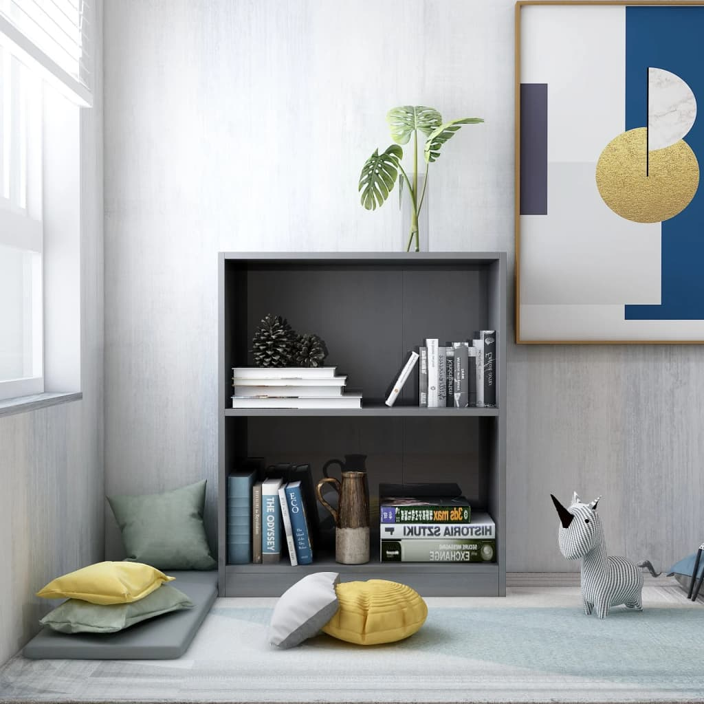 Knihovna šedá s vysokým leskem 60 x 24 x 74,5 cm dřevotříska