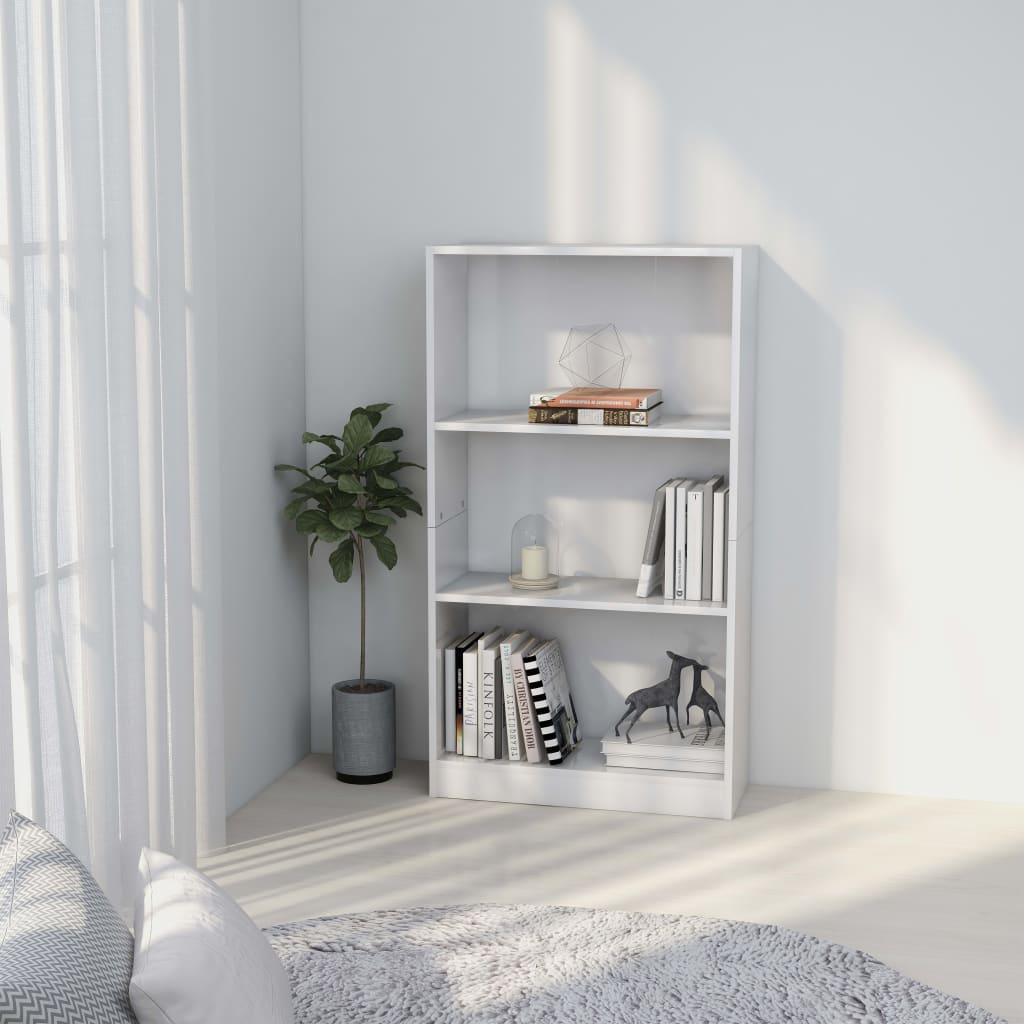 3patrová knihovna bílá 60 x 24 x 108 cm dřevotříska