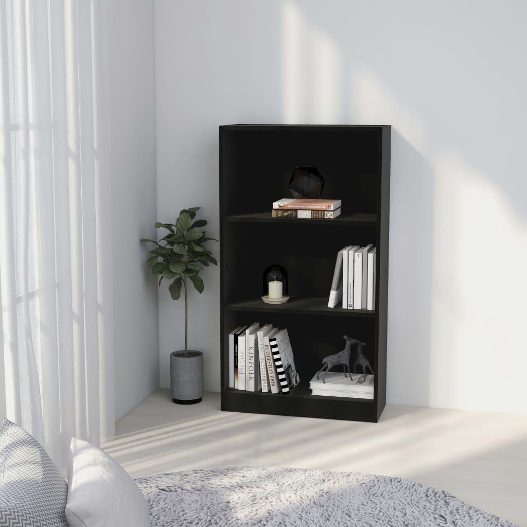 3patrová knihovna černá 60 x 24 x 108 cm dřevotříska
