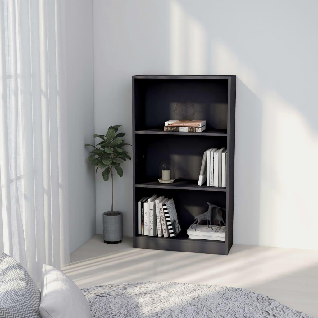 3patrová knihovna šedá 60 x 24 x 108 cm dřevotříska