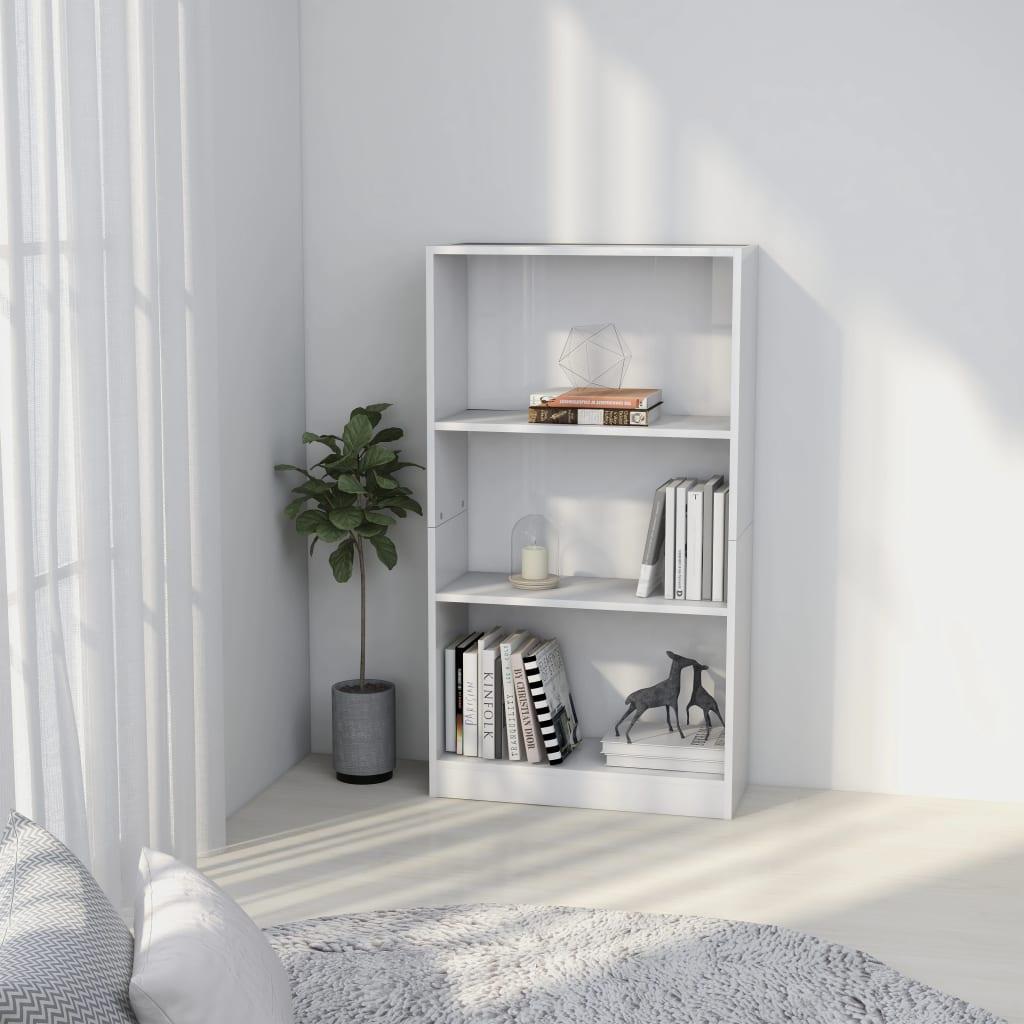 3-korruseline raamaturiiul valge 60x24x108 cm pui..