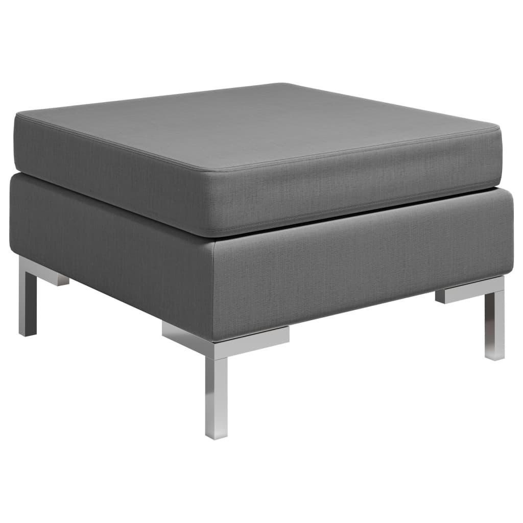 vidaXL Taburet modular cu pernă, gri închis, material textil imagine vidaxl.ro