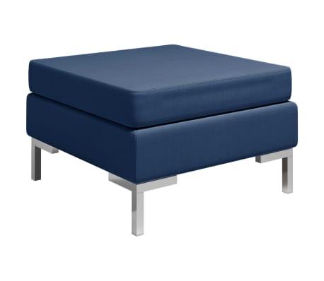 vidaXL Dílčí podnožka s poduškou textil modrá