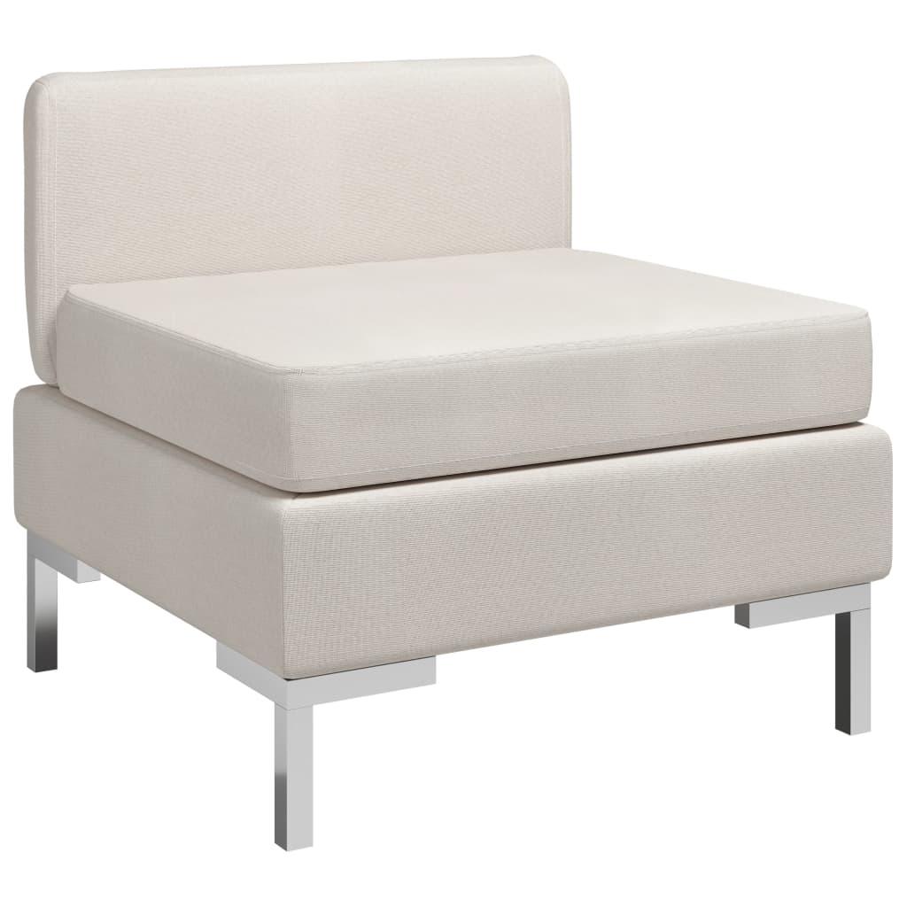 vidaXL Canapea de mijloc modulară cu pernă, crem, material textil imagine vidaxl.ro