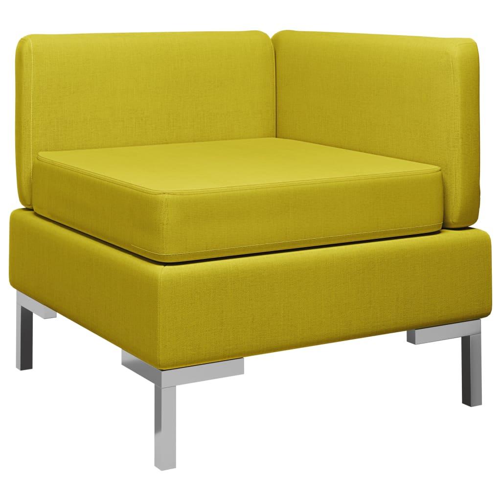 Dílčí rohová pohovka s poduškou textil žlutá