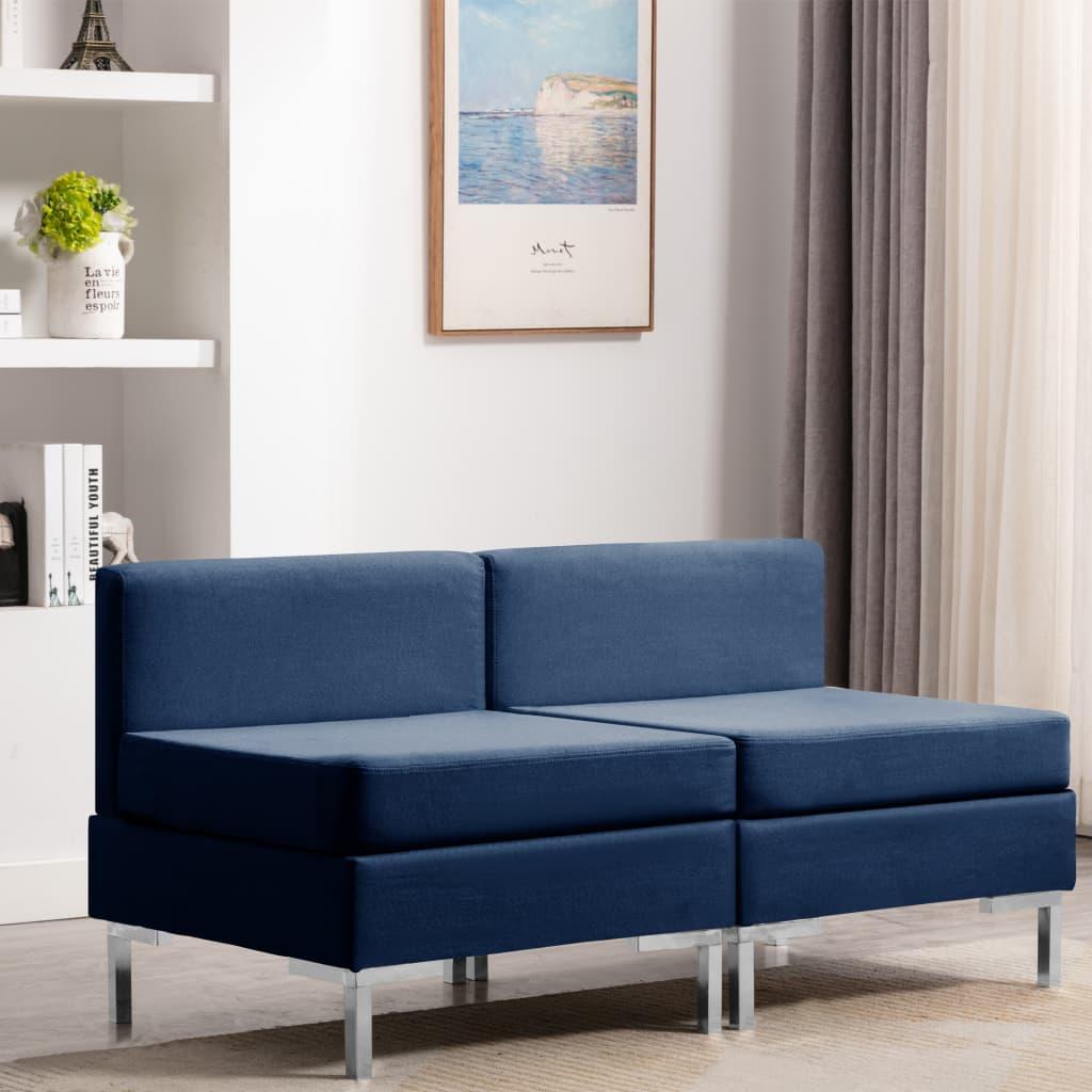 vidaXL Canapele de mijloc modulare cu perne, 2 buc., albastru, textil poza vidaxl.ro