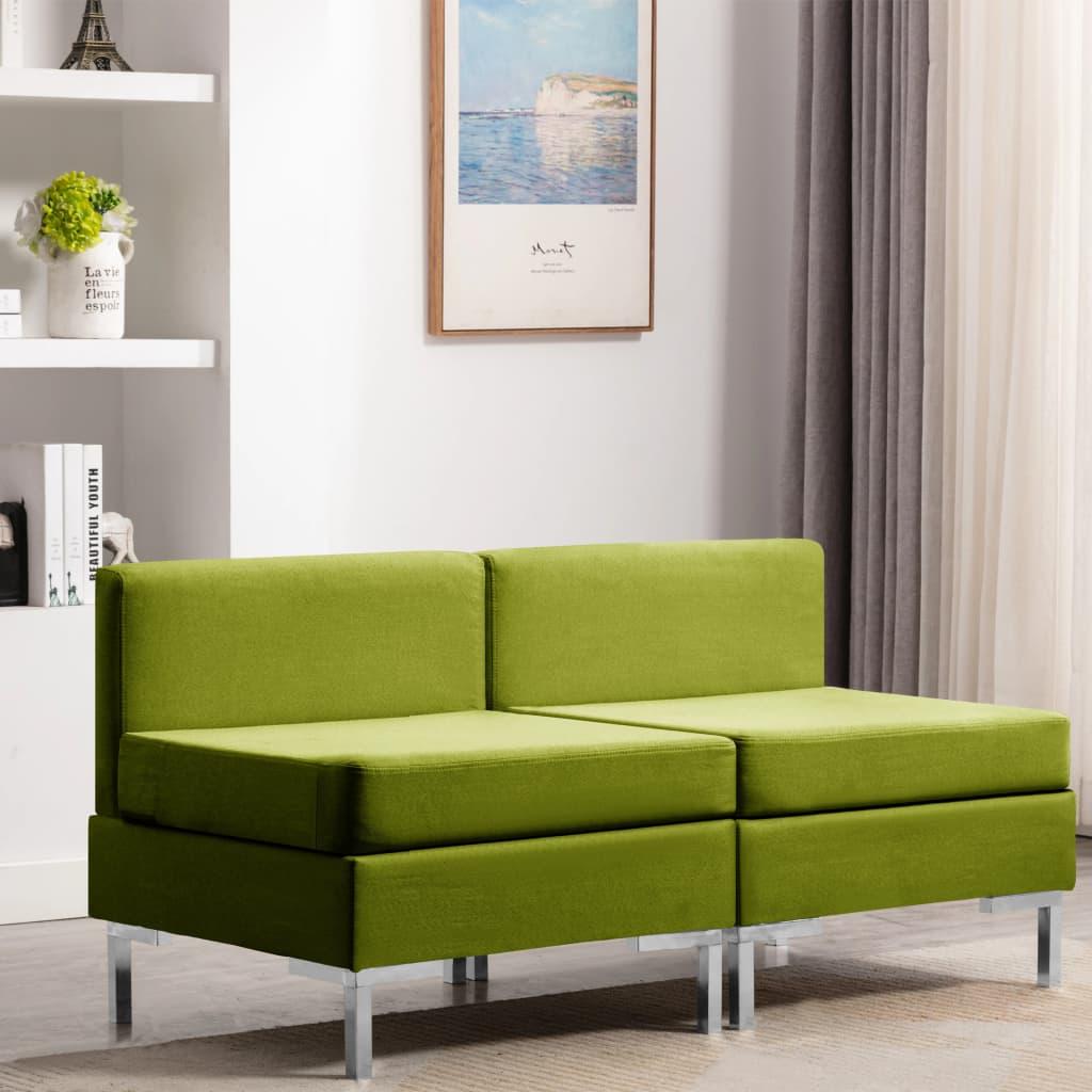 vidaXL Dílčí středové pohovky 2 ks s poduškami textil zelené