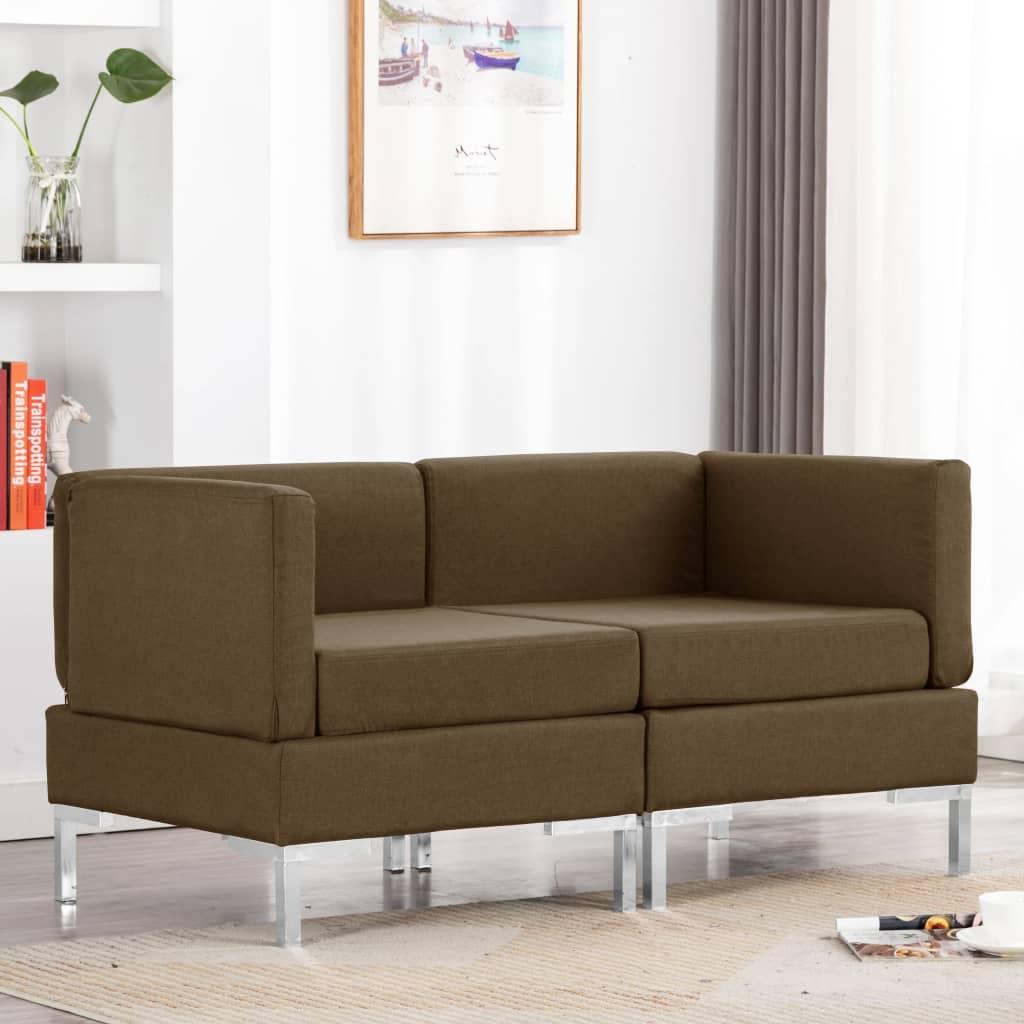 Canapé d'angle Marron Tissu Confort