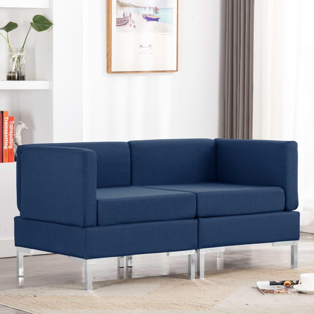 Canapé d'angle Bleu Tissu Confort