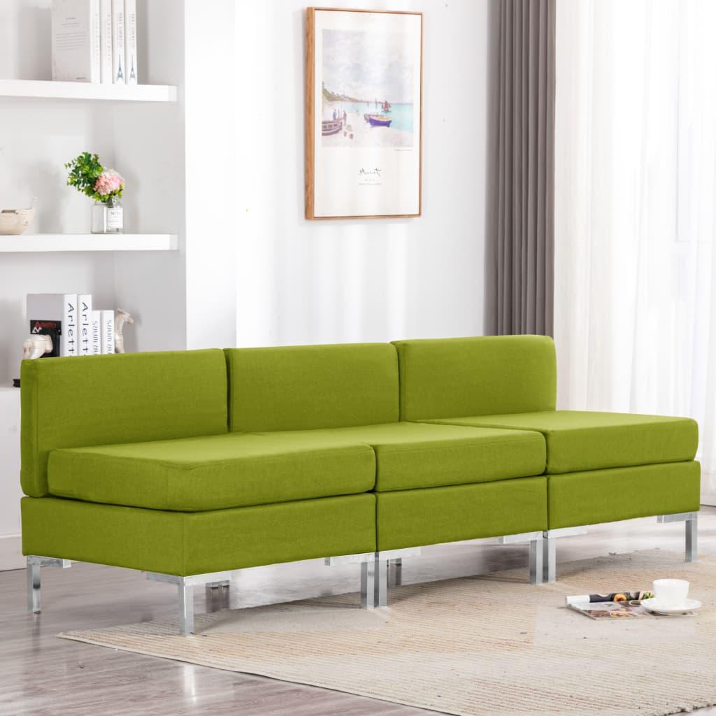 vidaXL Canapele de mijloc modulare cu perne, 3 buc., verde, textil poza 2021 vidaXL