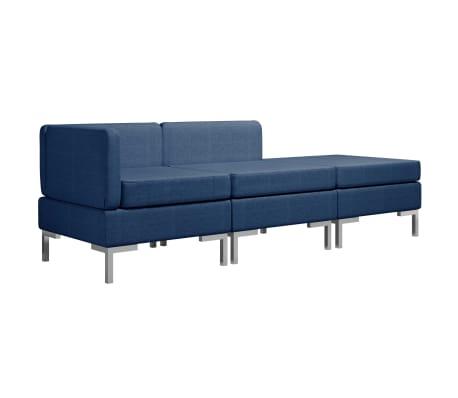 vidaXL 3dílná sedací souprava textil modrá